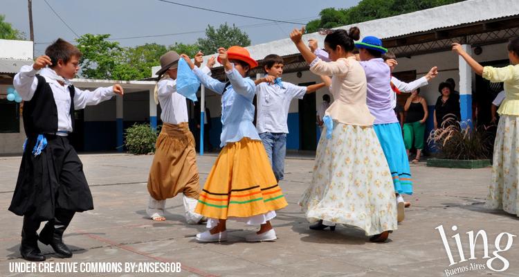 Acto escolar en colegio argentino