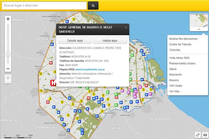 Mapa digital de la Ciudad Autónoma de Buenos Aires